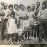 Simeoni sisters and families & ?, Valetta Road, c 1958