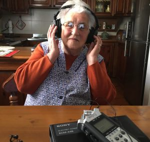 Gilda Simeoni, listening to her oral history interview, Riese, 22 Oct 2018