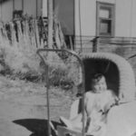 Irene, in front of house at Berno's property c 1953